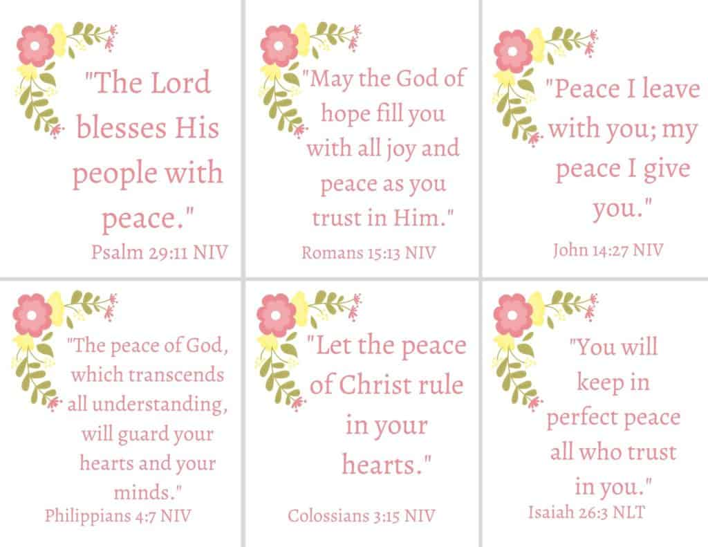 scripture cards for bible verses on peace