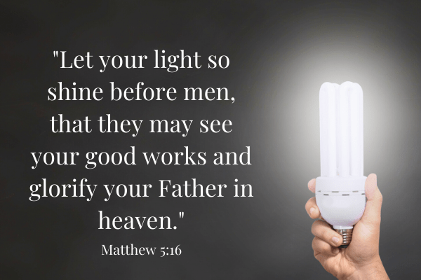 Matthew 5:16 next to lightbulb