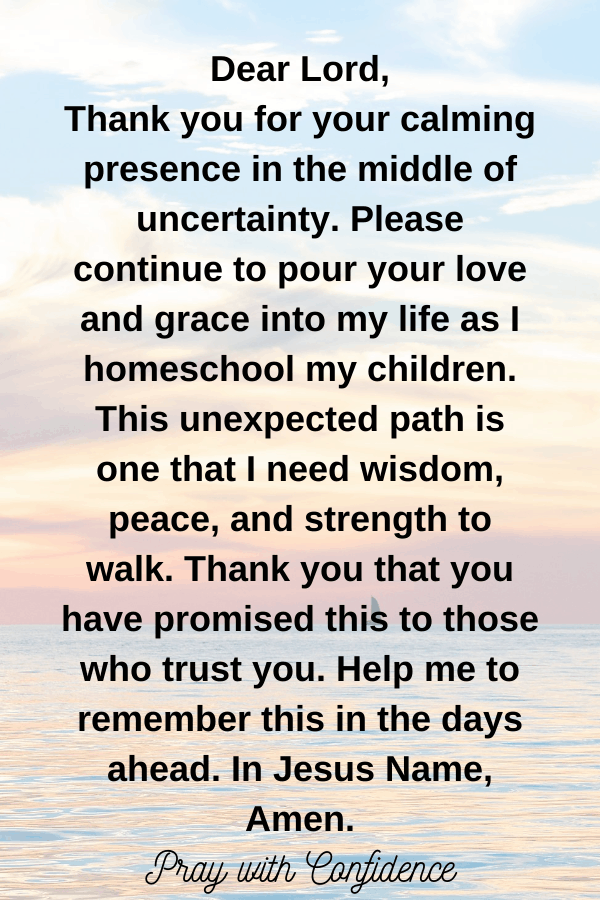 prayer for unexpected homeschool mom
